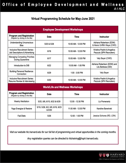 Schedule for Programs in May and June
