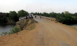 A collapsed road on the way from Jamshedpur to the Seraikela Block of Jharkhand.