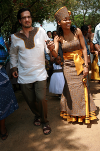 Tapela with her husband on her wedding day