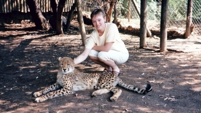 Molly with a cheetah in South Africa, 1999