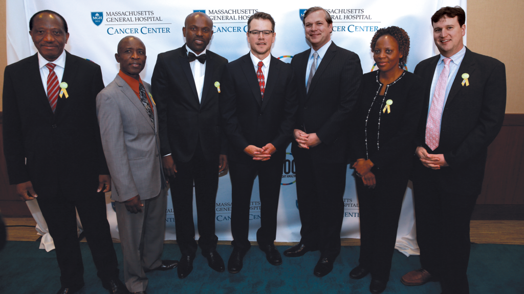 L to R: Dr. Mukendi Kayembe, Dr. Mompati Mmalane, Dr. Musimar Zola, Matt Damon, Dr. Jason Efstathiou, Dr. Memory Bvochora-Nsingo, Dr. Scott Dryden-Peterson, Photo by Matt Stone