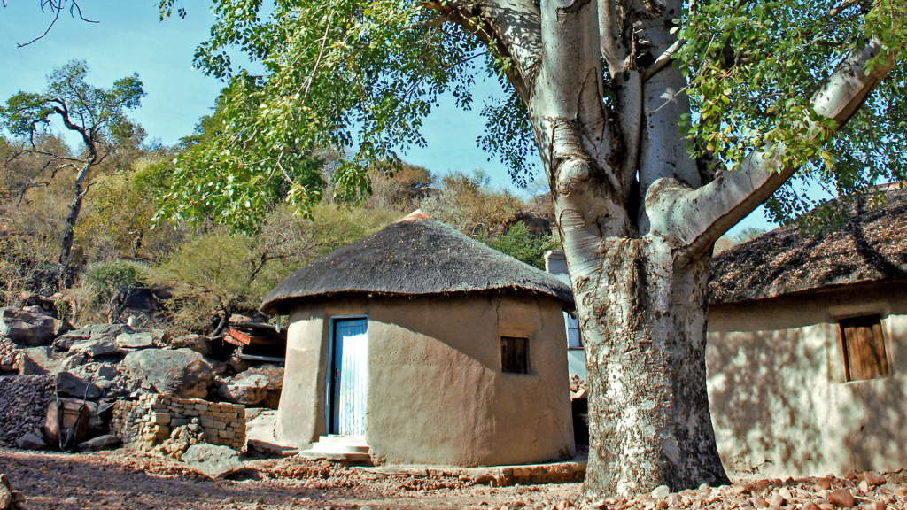 Traditional thatch-roofed rondeval