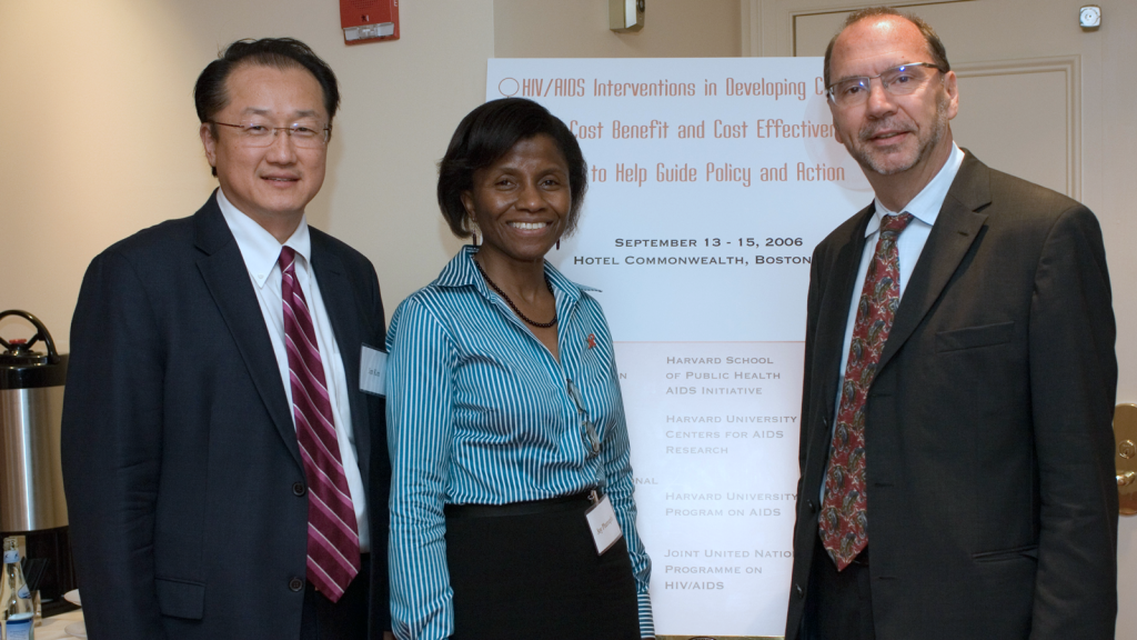 Jim Kim, Joy Phumaphi and Peter Piot