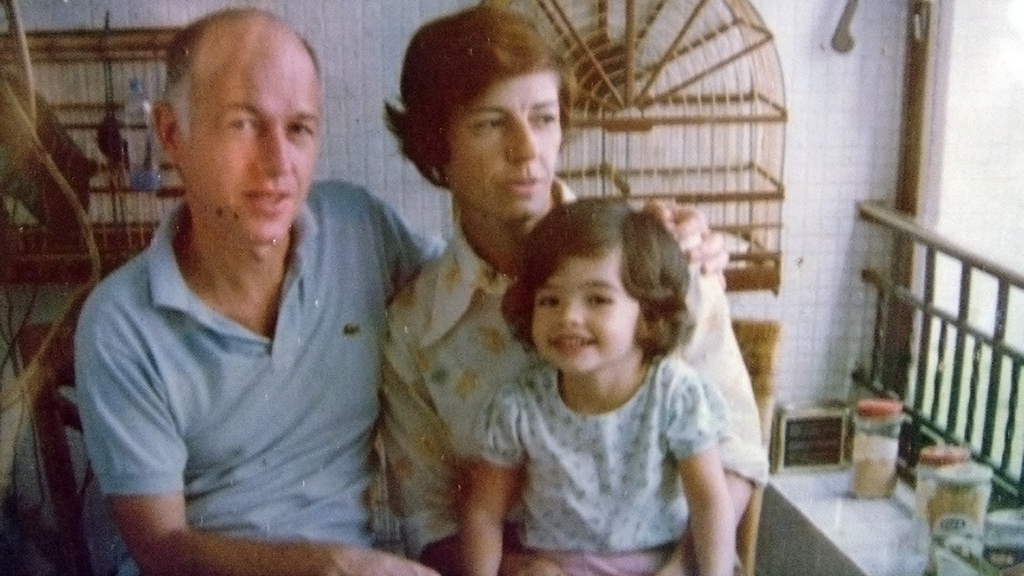 Rebeca Plank with her parents in Bahia, Brazil