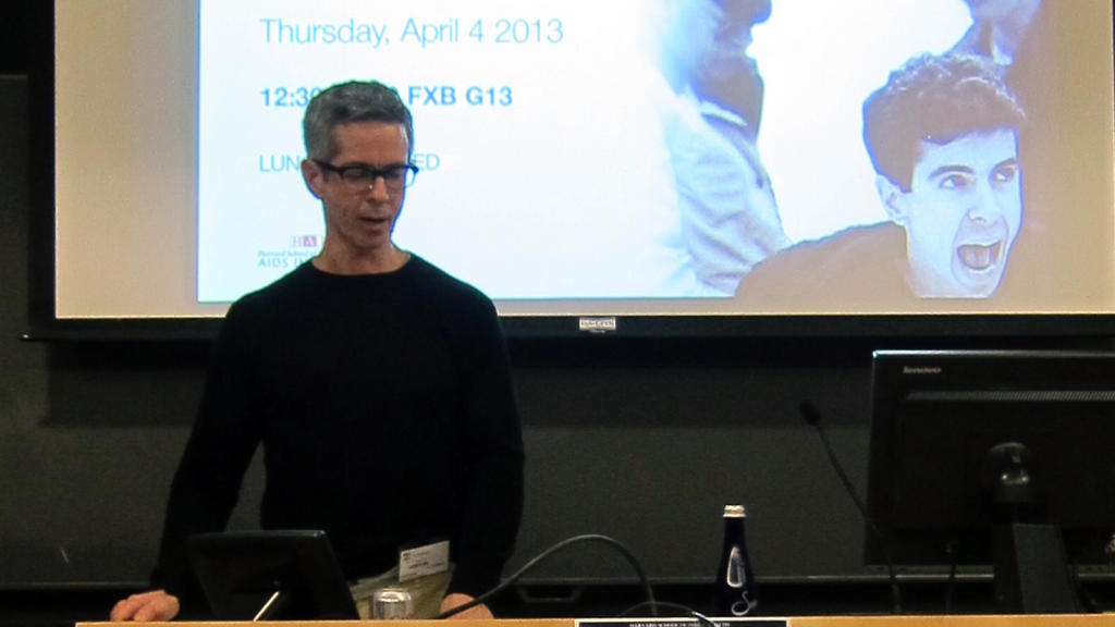 Peter Staley at HSPH during his talk on AIDS, ACT UP, and Birth of Patient Advocacy