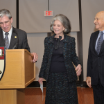 Dean Julio Frenk with Volunteer Leadership Award recepients Deeda Blair and Maurice Tempelsman