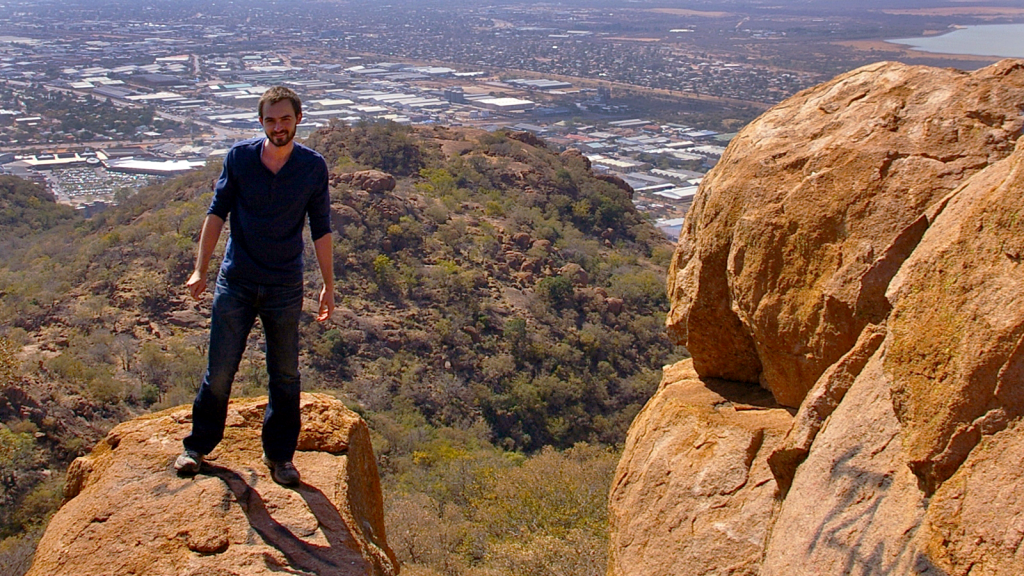 Ryan Davis on Kgale Hill overlooking Gaborone