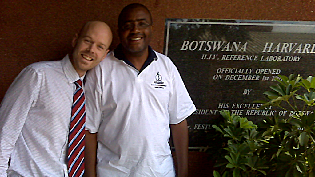 Jan-Walter De Neve with Sikhulile Moyo outside Botswana Harvard AIDS Institute