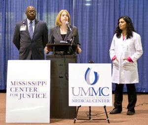 Marni von Wilpert speaks at the Mississippi Center for Justice