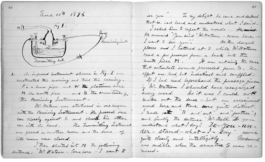 The 1876 notebook of Alexander Graham Bell, who patented the first practical telephone.