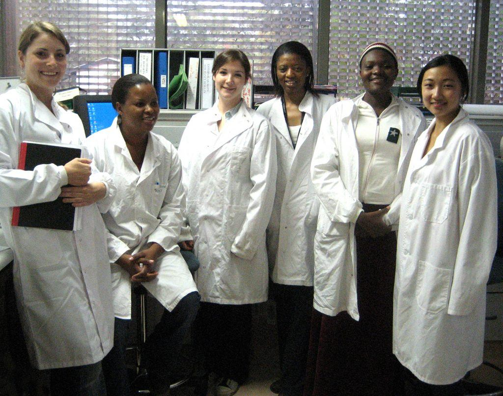 Students and researchers in the Serology Lab at the Botswana Harvard Partnership.