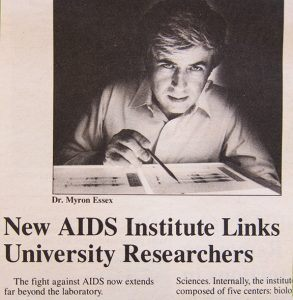 "Max Essex photo in Harvard Gazette with headline ""New AIDS Institute Links University Researchers"""