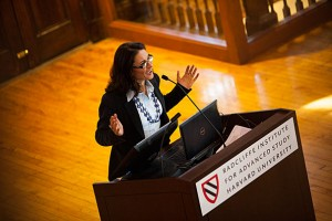 Francesca Dominici leads the discussion at the Women at Harvard event.
