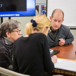 Image of Sue Goldie, Stephen Resch, Lisa Robinson in Meeting.