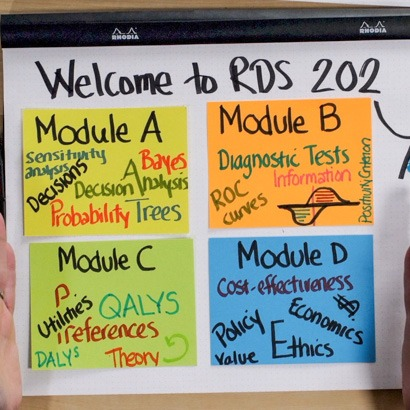 "Drawings Describing Modules of RDS 202 ""Module A: Sensitivity analysis, decisions, probability, trees, decision analysis, Bayes. Module B: Diagnostic tests, information ROC curves, positivity criterion. Module C: Utilities, preferences, QALYS, DALYS, theory. Module D: Cost-effectiveness, policy, ethics, value, economics, money""."