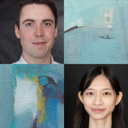 Headshots of Lyndon James and Lily Hsieh with decorative squares