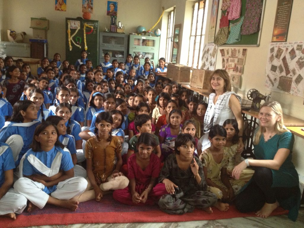 Program Director Jacqueline Bhabha and Research Associate Orla Kelly at a school in Rajasthan, India.