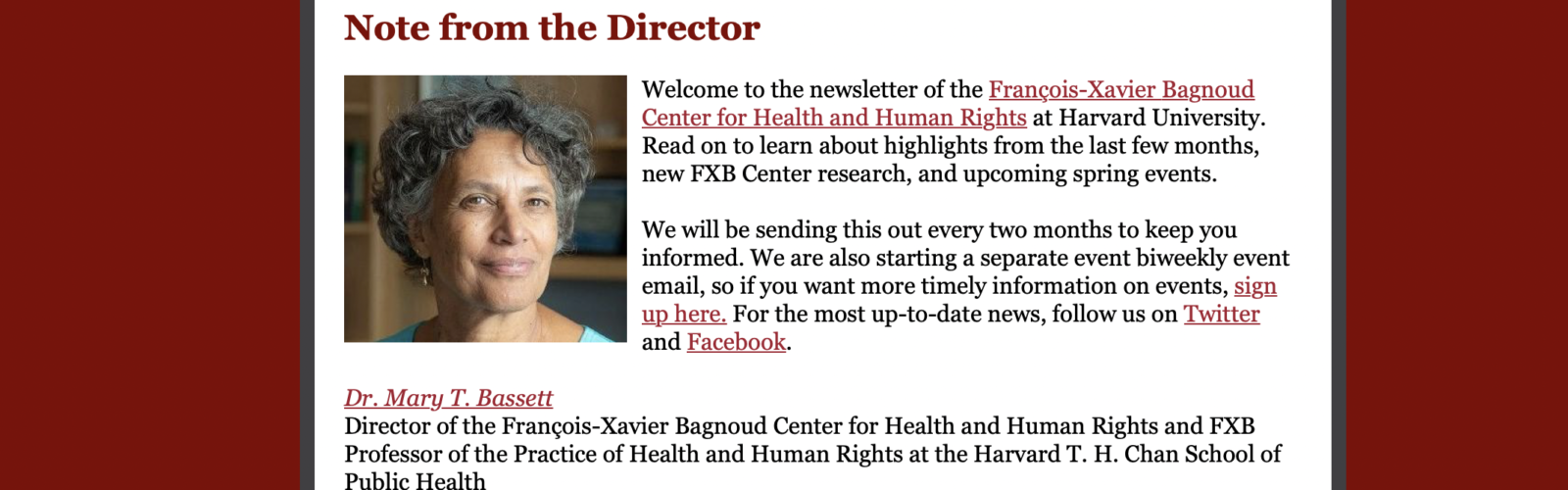 Stay in Touch With the FXB Center!