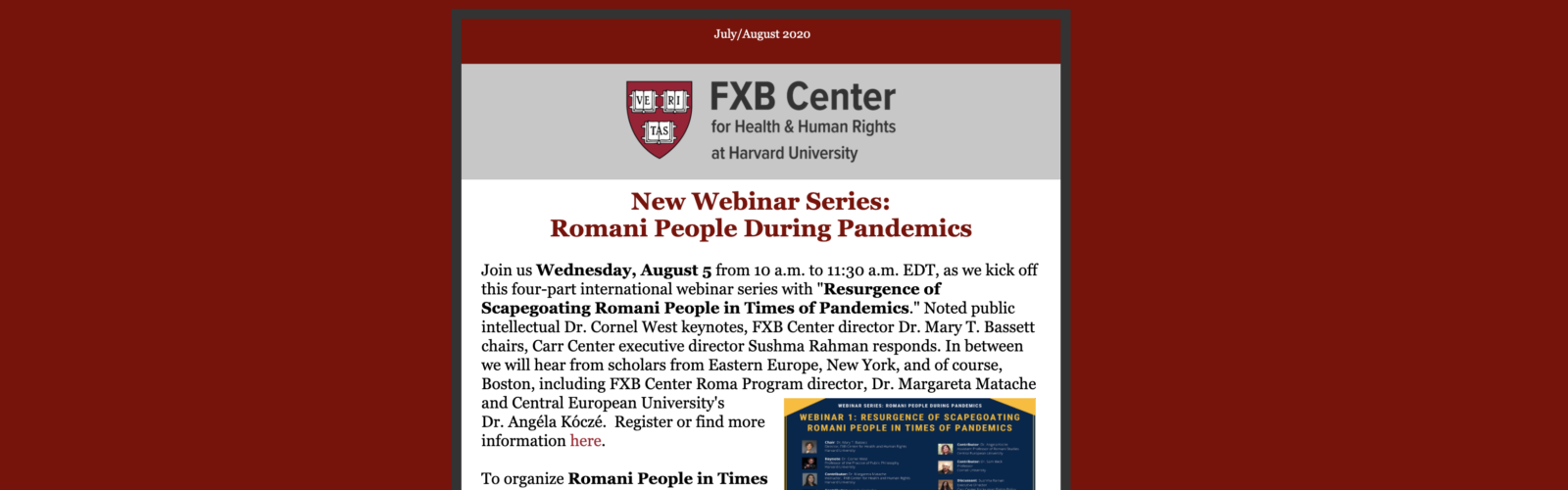 Read the Latest News from the FXB Center