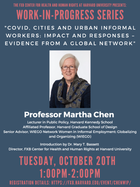 Event flyer with headshot of Professor Martha Chen, title of Professor Chen's presentation, and registration information.