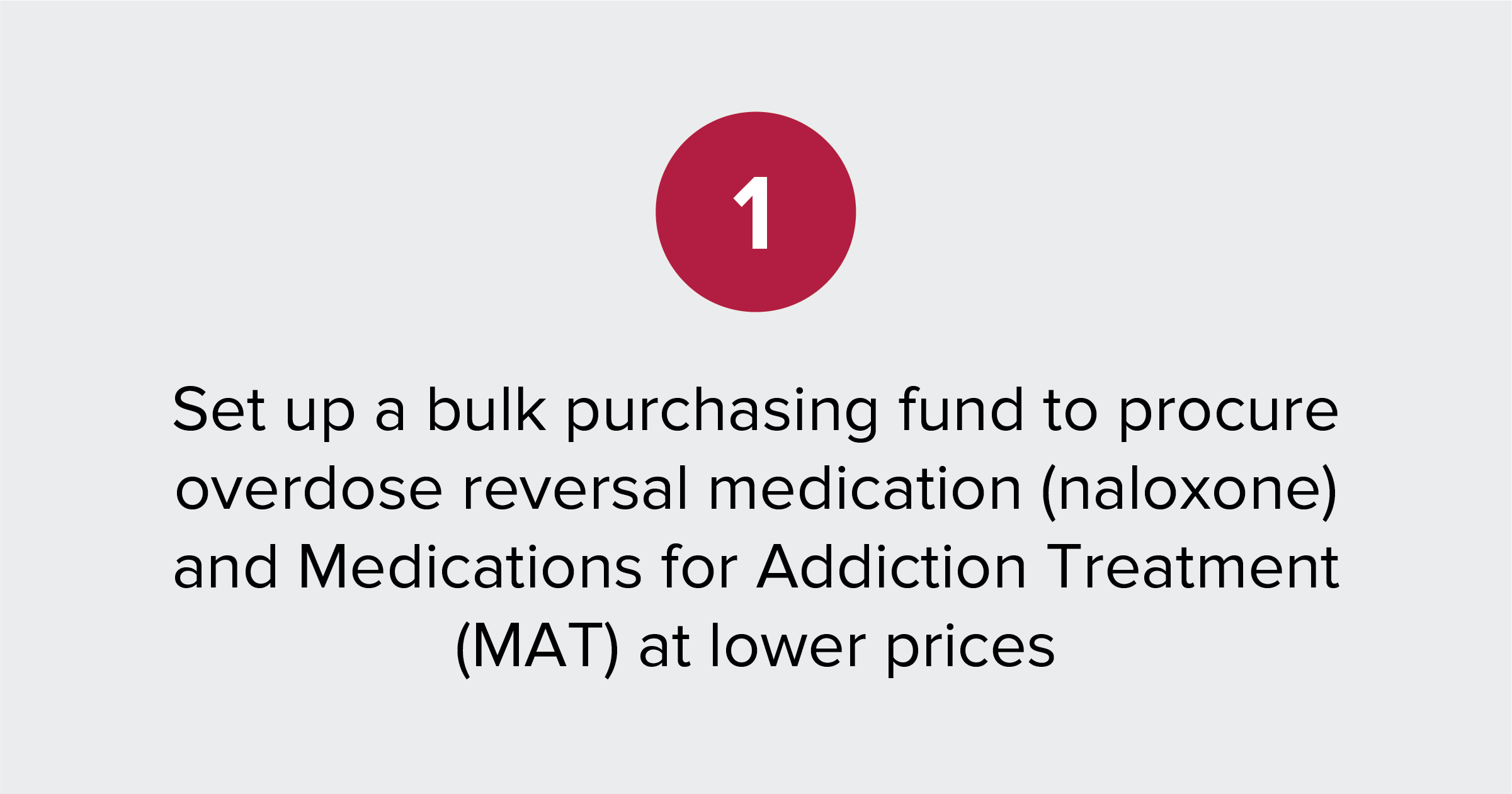 Image of the following text: Set up a bulk purchasing fund to procure overdose reversal medication (naloxone) and Medications for Addiction Treatment (MAT) at lower prices