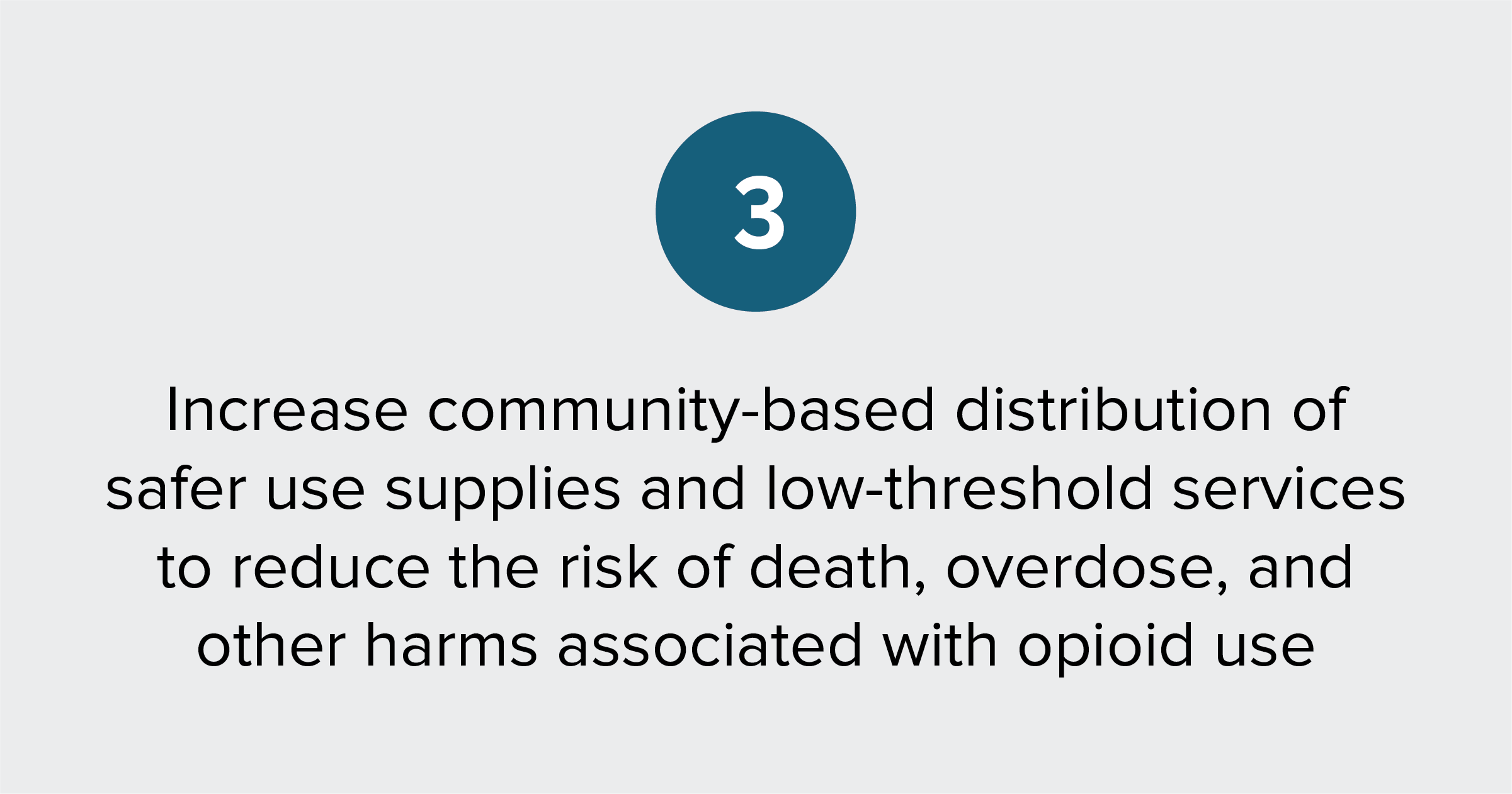 Text of report recommendation 3: Increase community-based distribution of safer use supplies and low-threshold care to reduce the risk of death, overdose, and other harms associated with opioid use