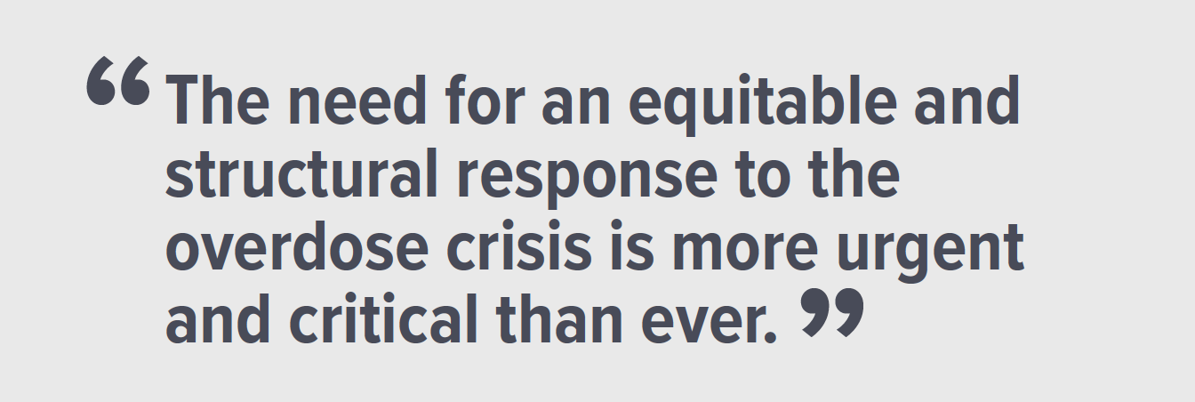 "Image with following text ""The need for an equitable and structural response to the overdose crisis is more urgent and critical than ever"""