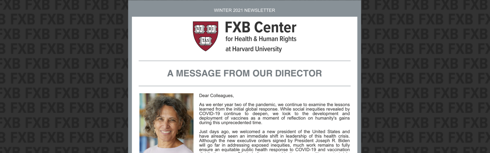 The Latest News from the FXB Center