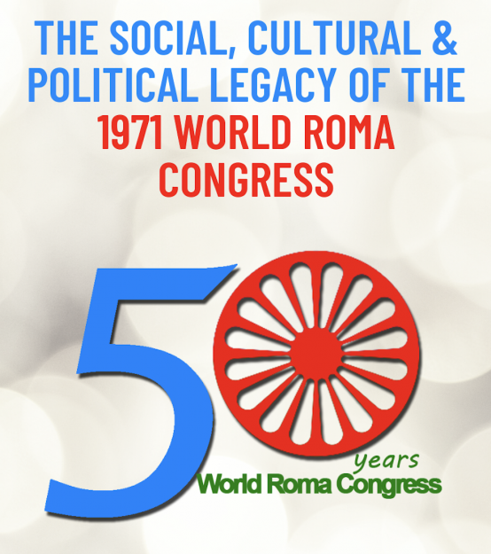 Graphic recognizing the 50th anniversary for the World Roma Congress
