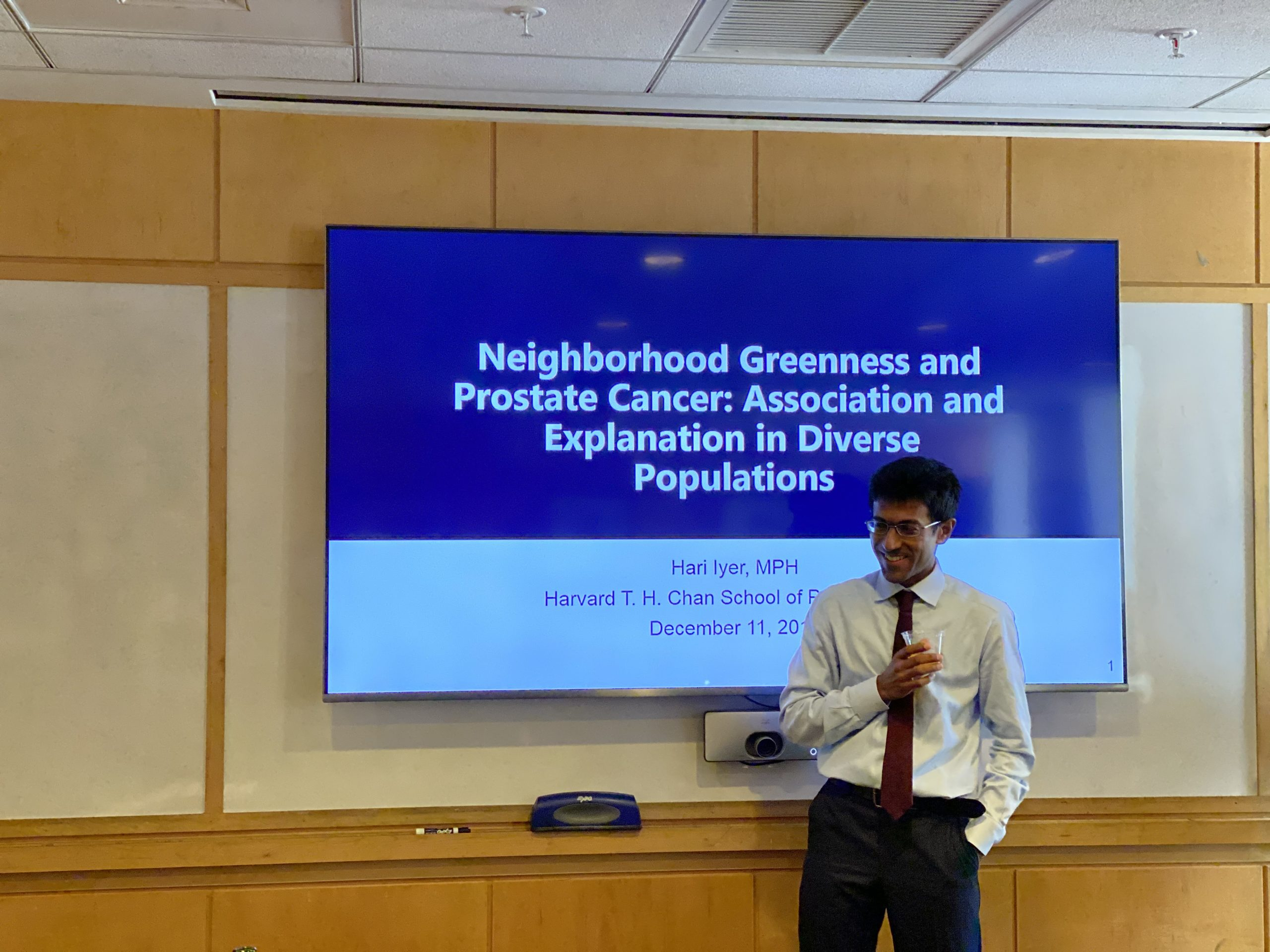 Picture of Hari Iyer defending his thesis