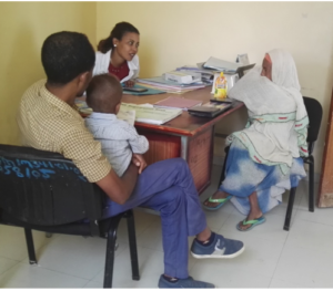 Family speaking with a health provider