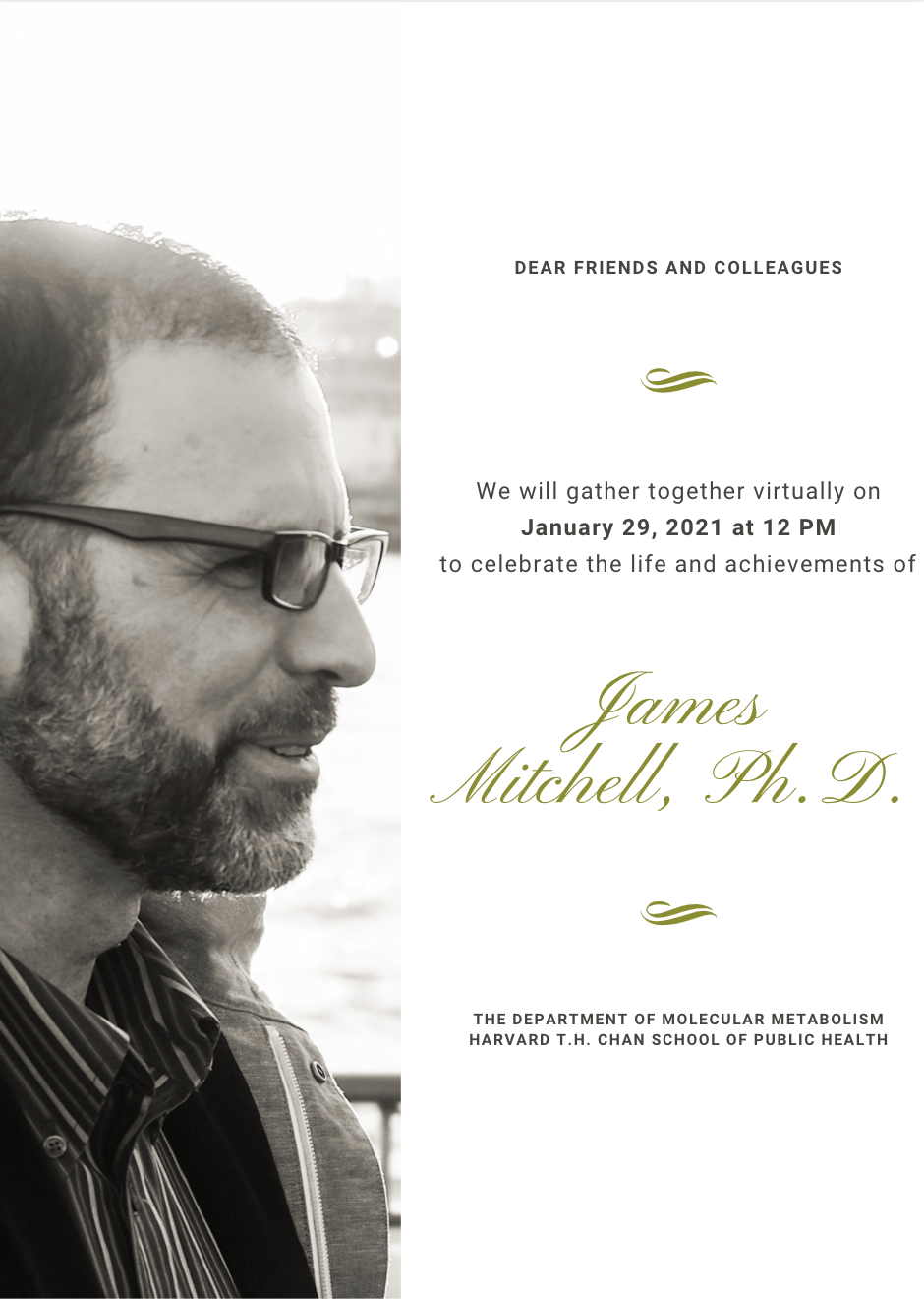 Memorial Card For James Mitchell, Ph. D, with a photo of Dr. Mitchell smiling by the water. There is light shining on his face.