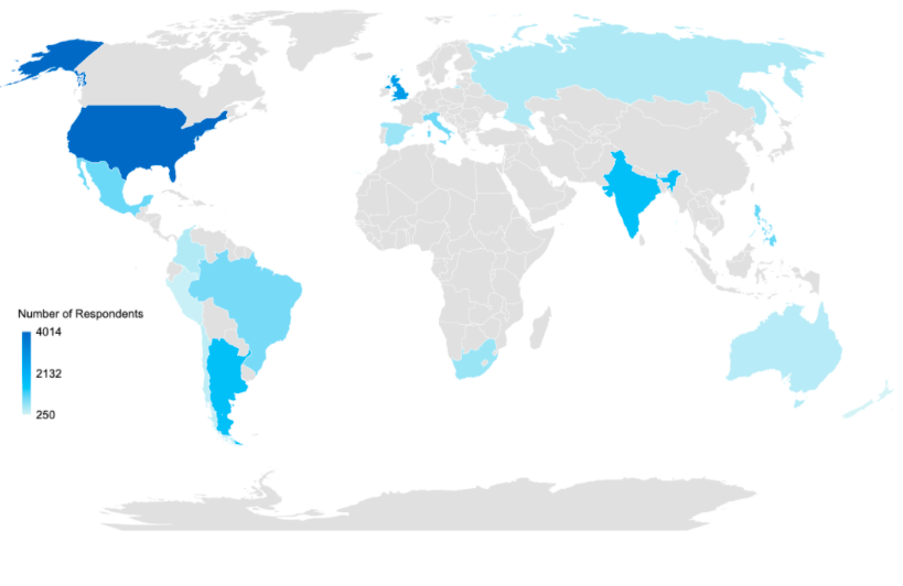 Global Heat Map of Respondents