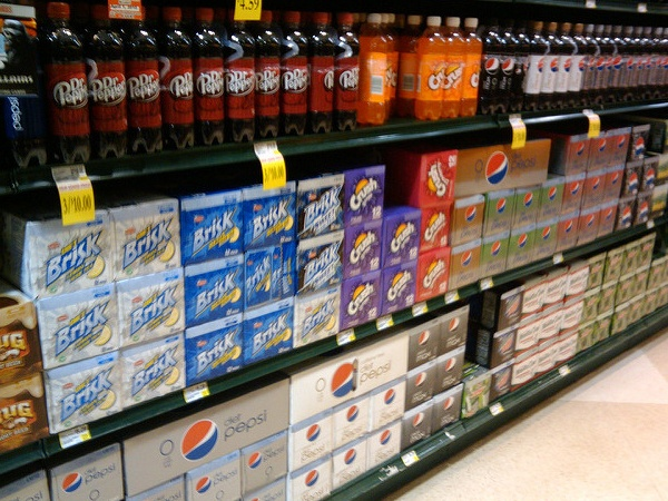 sodas on display in store
