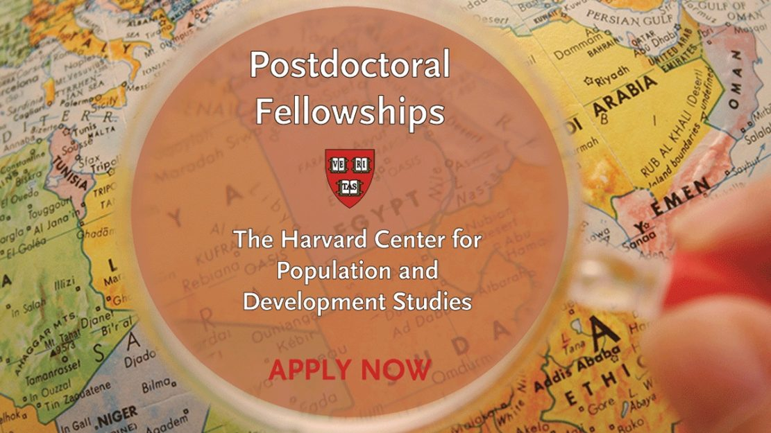 Map of countries with a magnifying glass hovering over them with the Harvard Pop Center logo and Apply Now for Postdoctoral Fellowships