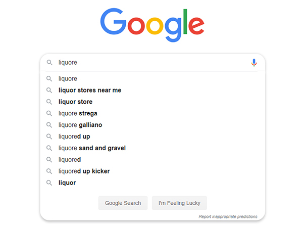 """Screen shot of a Google search field with the search term """"liquore"""""""
