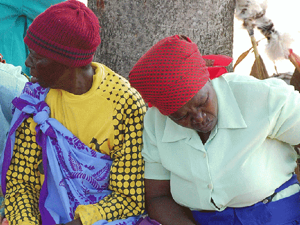 Two South African women wearing colorful clothes