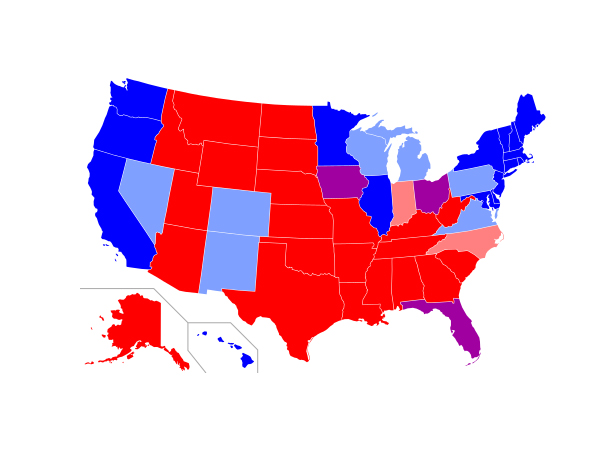 Map of the United State with Red and Blue States