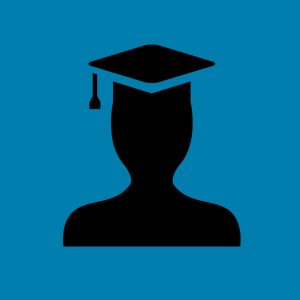 Illustration of a graduate student with cap