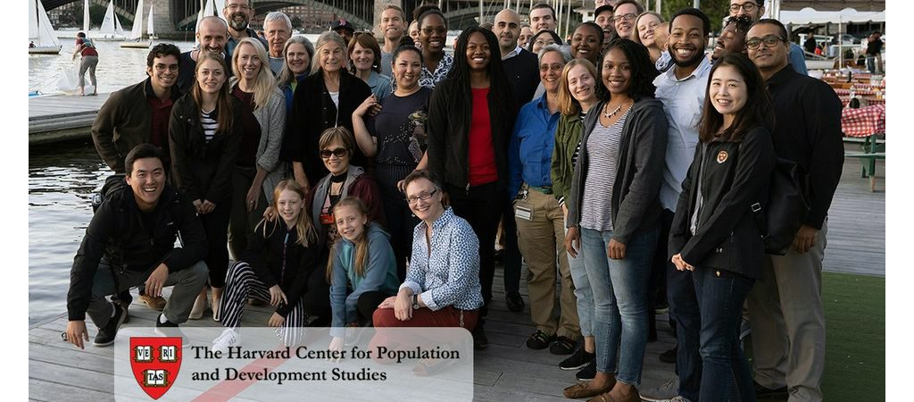 Large group of Pop Center Staff, fellows and faculty at Charles River Boat Ramp