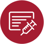 White Vaccine Card and Shot Icon in red circle