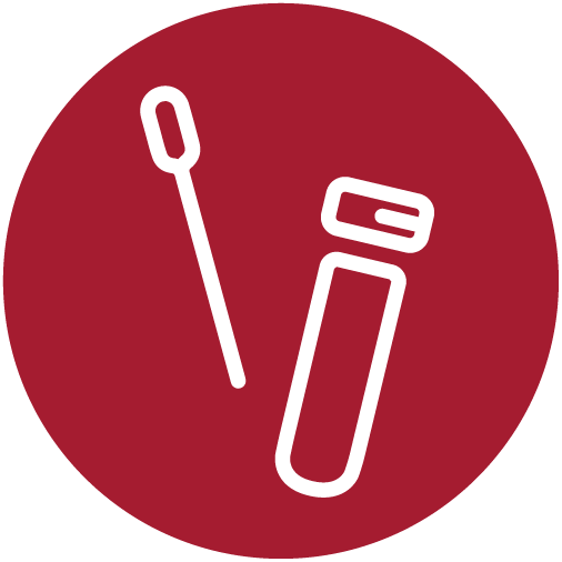 White swab and test tube Icon inside red circle