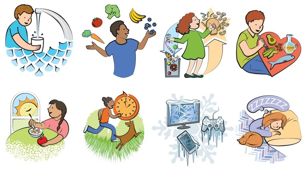 Graphics from Eat Well and Keep Moving: Person filling up water cup, person juggling fruits and vegetables, person avoiding processed sweets and eating whole grains, person eating healthy fats such as avocados and fish, person eating cereal and apple while looking at the sun, person running outside with dog, avoid video games, TV, and phones, person getting plenty of sleep
