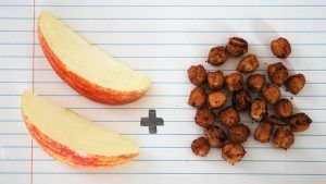 apples and roasted spiced chickpeas