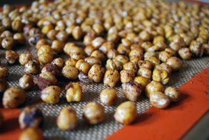 Oven roasted spiced chickpeas on baking tray