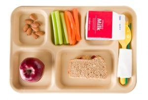 Lunch tray with apple, whole grain sandwich, almonds carrot sticks, celery sticks and milk