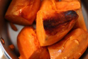 Sweet potatoes prepared in a pan