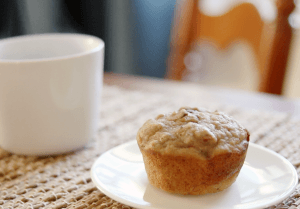 Whole Wheat Banana Walnut Muffin and a cup of coffee