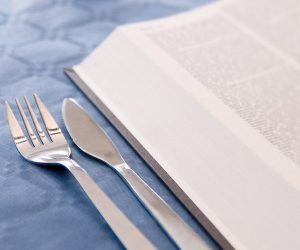 book and fork and knife