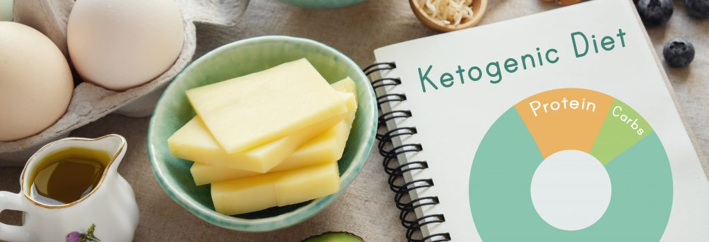 Some ketogenic diet foods, including cheese, butter, avocado, eggs, oil, almonds, blueberries, and coconut oil with recipe book titled ketogenic diet